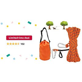Limited-time Deal: XiaZ Dog Tie Out Cable for Camping, 50ft Portable Overhead Trolley System for Dogs Up to 200lbs,Dog Lead for Yard, Camping, Parks, Outdoor Events,5 Min Set-up