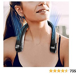 U-miss Portable Neck Fan - Hands Free Bladeless 360° Cooling Headphone Design USB Rechargeable Personal Neck Fan with 3 Wind Speed for Outdoor Indoor