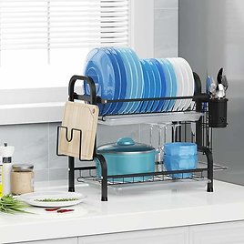 Dish Drying Rack, Warmfill 304 Stainless Steel 2 Tier Dish Rack with Drainboard Utensil Holder