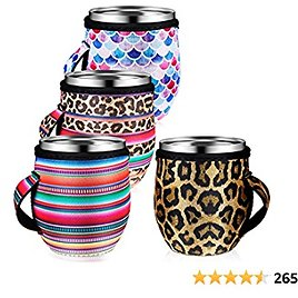 4 Pieces Coffee Cup Sleeve Reusable Neoprene Insulated Sleeves Cup Cover Holders Drinks Sleeve Holder for Cold Hot Beverages, 4 Styles (Suitable for 12-16 Oz)