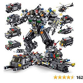 PANLOS STEM Robot Building Toys Engineering Building Bricks Armored Vehicles Kit Building Blocks for Kids 6 Years Old or Older Tight Fit and Compatible with All Major Brands 832PCS(Gray)