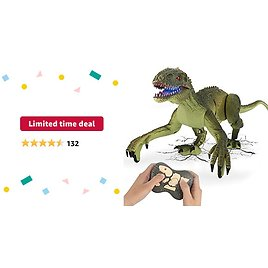 Limited-time Deal: GILOBABY Remote Control Dinosaur Toys with Light and Sound 2.4Ghz RC Simulation Walking Dinosaur Robot for Kids Boys Girls 4-7 Gifts(Green)