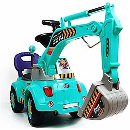 Blue Digger Scooter, Ride-on Excavator, Pulling Cart, Pretend Play Construction Truck