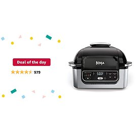 """Deal of The Day: Ninja Foodi 5-in-1 4-qt. Air Fryer, Roast, Bake, Dehydrate Indoor Electric Grill (AG301), 10"""" X 10"""", Black and Silver (Renewed)"""