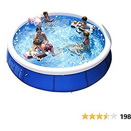Inflatable Swimming Pools for Kids and Adults Above Ground, Blow Up Family Top Ring Pool Portable Easy Set Pools Games for Outdoor Backyard Garden (S 8FT X 25IN)