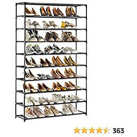 TECHMILLY Shoe Rack 10 Tiers, Shoe Organizer 50 Pairs, Non-Woven Fabric, Space Saving, Stackable and Durable Shoe Storage Shelf (Black)