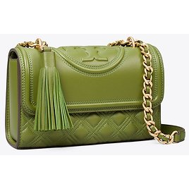 Tory Burch Fleming Small Convertible Shoulder Bag (Spinach)