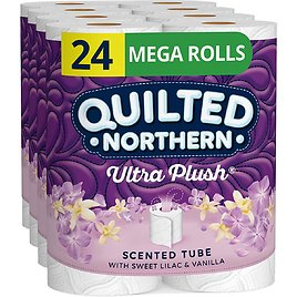 24 Mega Rolls Quilted Northern Ultra Plush Toilet Paper with Sweet Lilac & Vanilla Scented Tube