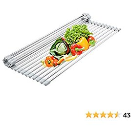 """Over The Sink Kitchen Multipurpose Dish Drying Rack, Roll-Up Stainless Steel Dish Drainer 【Grey 20.5"""" X 12.2""""】"""
