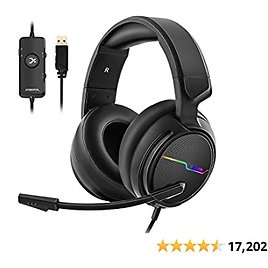 Jeecoo Xiberia USB Pro Gaming Headset for PC- 7.1 Surround Sound Headphones with Noise Cancelling Microphones.