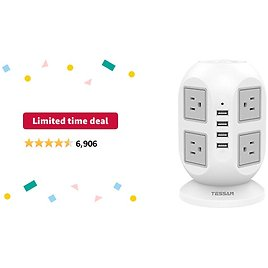 Limited-time Deal: Power Strip Tower TESSAN Surge Protector 8 AC Outlets with 4 USB Ports Charging Station Long Extension Cord 10 Feet, Widely Spaced Multi Outlets, Circuit Breaker Safeguard for Home Office Dorm Room