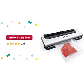 Limited-time Deal: YTE Vacuum Sealer Machine, Automatic Food Saver with Dry & Moist Food Modes, Compact Design and Easy to Clean, Vacuum Sealing Machine with Built-in Cutter and Starter Kit