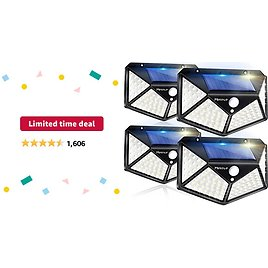 Limited-time Deal: Solar Lights Outdoor 4 Pack, 100LED/3 Modes 270° Lighting Angle Motion Sensor Security Lights, Wireless IP65 Waterproof Wall Lights Solar Powered, Bright for Backyard Garden Fence Patio Front Door