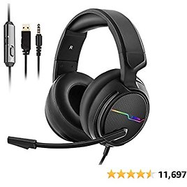 Jeecoo Xiberia Stereo Gaming Headset for PS4 PS5 Xbox One S- Over Ear Headphones with Noice Cancelling Microphone - LED Light Soft Earmuffs for PC Laptops Mobiles