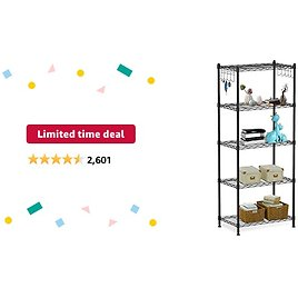 Limited-time Deal: Alvorog 5-Shelf Shelving Storage Unit Heavy Duty Metal Organizer Wire Rack with Leveling Feet and Hooks Adjustable Shelves for Bathroom Kitchen Garage (23.2Lx13.4Wx59.1H)