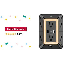 Limited-time Deal: Multi Plug Outlet, Outlet Expanders, ONDOG Surge Protector with 6-Outlet Extender and 2 USB Ports and Night Light, 3-Sided Power Strip with Adapter Spaced Outlets - Black,ETL Listed