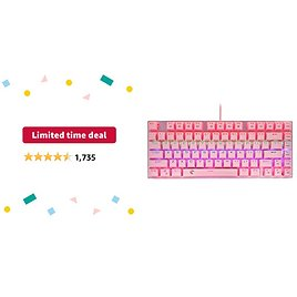 Limited-time Deal: HUO JI 60% Mechanical Gaming Keyboard, E-Yooso Z-88 with Brown Switches, Rainbow LED Backlit, Compact 81 Keys Hot Swappable, Pink