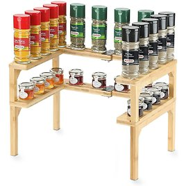 Bamboo Expandable Spice Rack - 2 Tier Stackable Spice Rack Organizer for Kitchen Cabinet, Pantry, Shelf Organizer (1 Set of 2 Sh