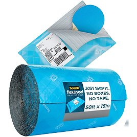 Scotch Flex and Seal Shipping Roll 50 Ft X 15 In, Eliminates Time, Supplies, Waste & Space Vs. Boxes, Easy Packaging Alternative