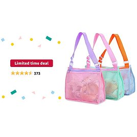 Limited-time Deal: Beach Toy Mesh Bag Kids Shell Collecting Bag Beach Sand Toy Totes for Holding Shells Beach Toys Sand Toys Swimming Accessories for Boys and Girls(Only Bags,A Set of 3 )