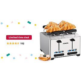 Limited-time Deal: Toaster 4 Slice, Extra-Wide Slot Toaster Bread Toasting Stainless Steel Toaster for Bread Waffle Bagel, 7 Toast Shade Settings 3 Function with Removable Crumb Trays & Warming Rack 1500W TA1