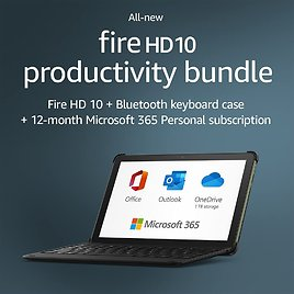 All-new Fire HD 10 Tablet, 32 GB, Black + Bluetooth Keyboard + 12-month Microsoft 365 Personal Subscription (auto-renews)