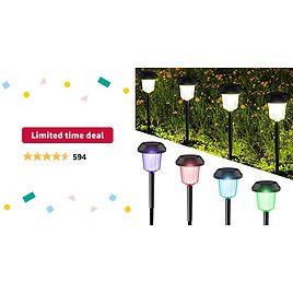 Limited-time Deal: InnoGear Upgraded Solar Pathway Garden Lights Switchable White and Colorful Light Waterproof Outdoor LED Landscape Lighting Auto On/Off Wireless Sun Powered for Yard Patio Walkway, Pack of 6