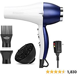 Hair Dryer Salon Hair Blow Dryer 2000W Low Noise with Powerful Professional Hair Dryer Negative Ionic Ceramic Technology, Quick Drying with AC Motor,2 Speed 3 Heat Settings and Cool Button-WhiteBlue