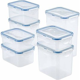 LOCK & LOCK Easy Essentials Food Storage Lids/Airtight Containers, BPA Free, 14 Piece - Tall Rectangles.