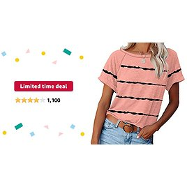 Limited-time Deal: ETCYY NEW Womens Short Sleeve V-Neck Shirts and Raglan Crewneck T Shirts Tees Color Block Casual Loose Fit Tshirts Tops