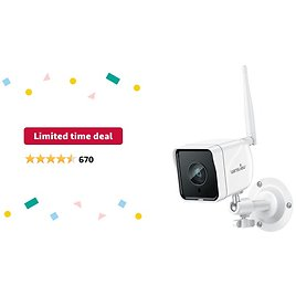Limited-time Deal: Outdoor Security Camera, Wansview 1080P Wireless WiFi IP66 Waterproof Surveillance Home Camera with Motion Detection, 2 Way Audio, Night Vision, SD Card Storage and Works with Alexa W6 (White)