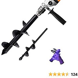 """Auger Drill Bit Sets 1.6x9"""" & 3.5x12"""" Auger Drill Bit for Planting with Non-Slip Garden Gloves ,Garden Auger Drill Bit- Earth AugerPost Hole Digging Bulb & Bedding Plant Augers for 3/8'Hex Drive Drill,2pcs"""