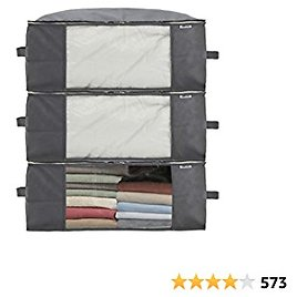 Sami Time Clothes Blanket Storage Bags Organizer with Reinforced Handle-Set of 3,Foldable with Sturdy Zipper, Clear Window (Large Gray(19.68in14.17in8.26in))