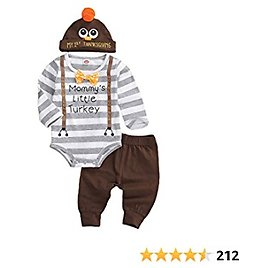 Baby Boy Girl Thanksgiving Outfit Long Sleeve Letter Romper + Hat + Turkey Crib Shoes 3pcs Clothes Set