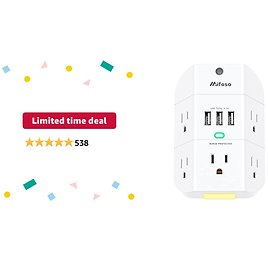Limited-time Deal: Outlet Extender with Night Light, 5-Outlet Surge Protector with 3 USB Charging Ports, 1800J Power Strip Multi Plug Outlets Wall Adapter Expander with Spaced Outlets for Home, School, Office