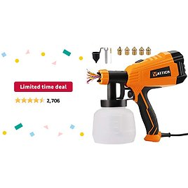 Limited-time Deal: YATTICH Paint Sprayer, 700W High Power HVLP Spray Gun, 5 Copper Nozzles & 3 Patterns, Easy to Clean, for Furniture, Cabinets, Fence, Car, Bicycle, Garden Chairs Etc. YT-201-A