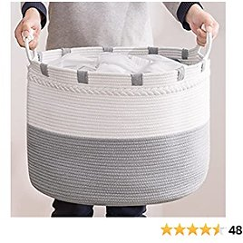 YOUDENOVA Extra Large Laundry Basket - Huge Blanket Basket for Blankets, Decorative Woven Storage Hamper for Clothes, Toys in Living Room, Grey and Cream-White 21W X 16H Inches