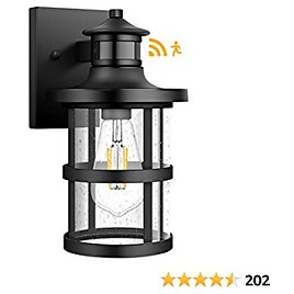 Upgrade Outdoor Wall Lantern with Motion Sensor, Waterproof Dusk to Dawn Wall Sconce, Anti-Rust Porch Light Fixtures Wall Mount with Seeded Glass for Entryway Doorway Garage Balcony, Motion Activated