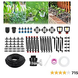 Drip Irrigation Kits, Fixget 43/141ft Garden Irrigation System with Adjustable Automatic Irrigation Set, DIY Plant Watering System for Saving Water Mist Cooling of Garden Greenhouse Patio Lawn