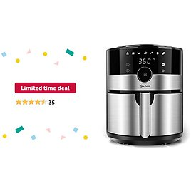Limited-time Deal: Hoepaid Air Fryer, No Oil Stainless Steel Oven with 3.6QT Capacity, Non-Stick Basket and Rack Included, Touch Screen and Knob, 8 Preset Modes, 1350W