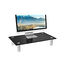 WALI Tempered Glass Height Adjustable Monitor Riser Desktop Stand for $15.29