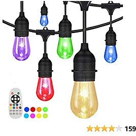 Outdoor String Lights, Yuusei 100Ft Waterproof Colored Changing Patio Lights Dimmable LED Hanging RGB String Light with 30+2 S14 Shatterproof Edison Bulbs, Remote Control, for Garden, Cafe, Balcony
