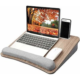 HUANUO Lap Laptop Desk - Portable Lap Desk with Pillow Cushion, Fits Up to 15.6 Inch Laptop, with Anti-Slip Strip & Storage Func