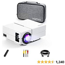 """Vamvo Movie Projector, Portable Projector with Dolby Digital Plus Support 1080P 200"""" Display, Compatible with Fire TV Sticks."""