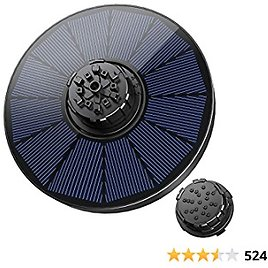OKMEE Solar Fountain, Bird Bath Fountain, 4-in-1 Nozzle with 7 Water Styles, Full Coverage Solar Panels, Pond, Pool, Fish Tank, Aquarium and Garden, Black, 130mm (GD108A)