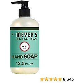 Mrs. Meyer's Clean Day Liquid Hand Soap, Cruelty Free and Biodegradable Hand Wash Made with Essential Oils, Basil Scent, 12.5 Oz Bottle