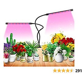 Grow Light for Indoor Plant Growing LED Grow Light 9 Dimmable Settings, Horizontal Plant Growth Lamp for Indoor Plants with Red/Blue Spectrum, Adjustable Gooseneck, 3/9/12H Timer (Red)