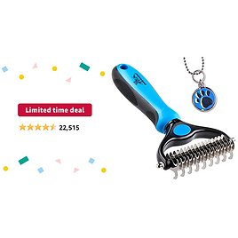 Limited-time Deal: Pat Your Pet Deshedding Brush - Double-Sided Undercoat Rake for Dogs & Cats - Shedding and Dematting Tool for Grooming