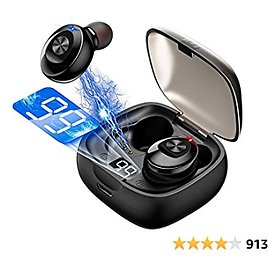 Wireless Earbuds Bluetooth 5.0 Mini Headphones, Hi-Fi Stereo In-Ear Earphones with 300Mah Charging Case, Touch Control, IPX5 Waterproof Headset with LED Display Built-in Mic for Sports, Workout, Gym