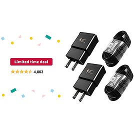 Limited-time Deal: Adaptive Fast Charger Type C Cable Kit Compatible Samsung Galaxy S21 /S21 Ultra 5G /S20 / S10 / S10+ / S10e / S8 / S9 / Plus/Edge/Active/Note 8/9 /20/10, Power Adapter with USB C Cord (2 Pack)